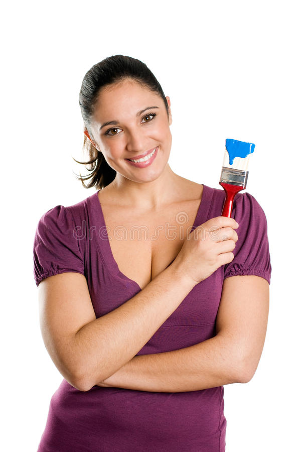 детеныши женщины краски щетки стоковое изображение rf