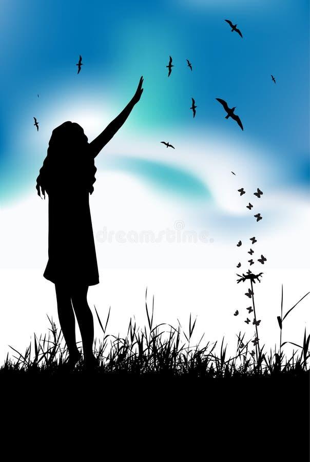 детеныши женщины лета лужка руки развевая иллюстрация штока