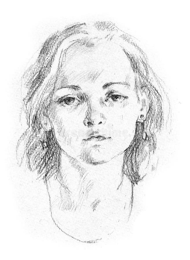 детеныши женщины портрета иллюстрация вектора