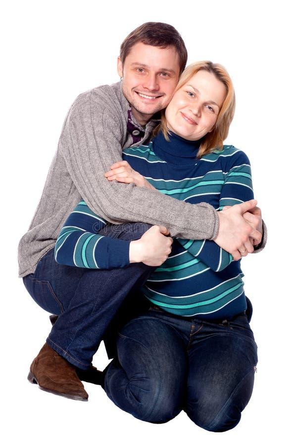 детеныши женщины счастливого портрета человека сь стоковое изображение