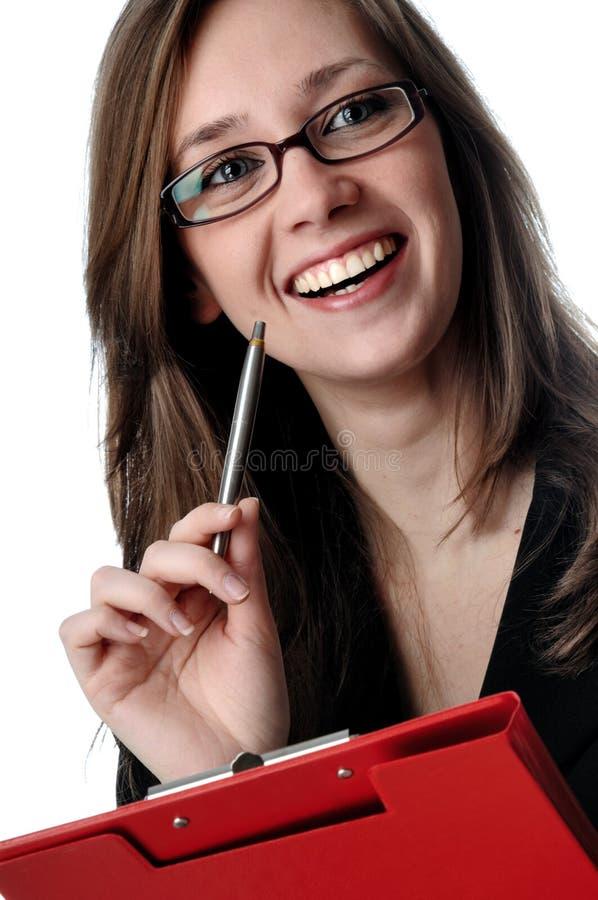 детеныши женщины усмешки дела стоковое фото