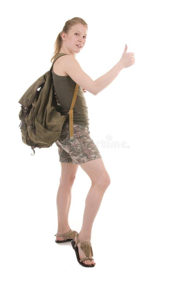 детеныши женщины backpacker стоковое изображение