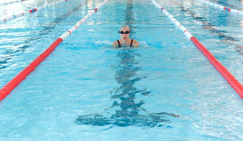 детеныши женщины swim типа крытого бассеина breastroke стоковые фотографии rf