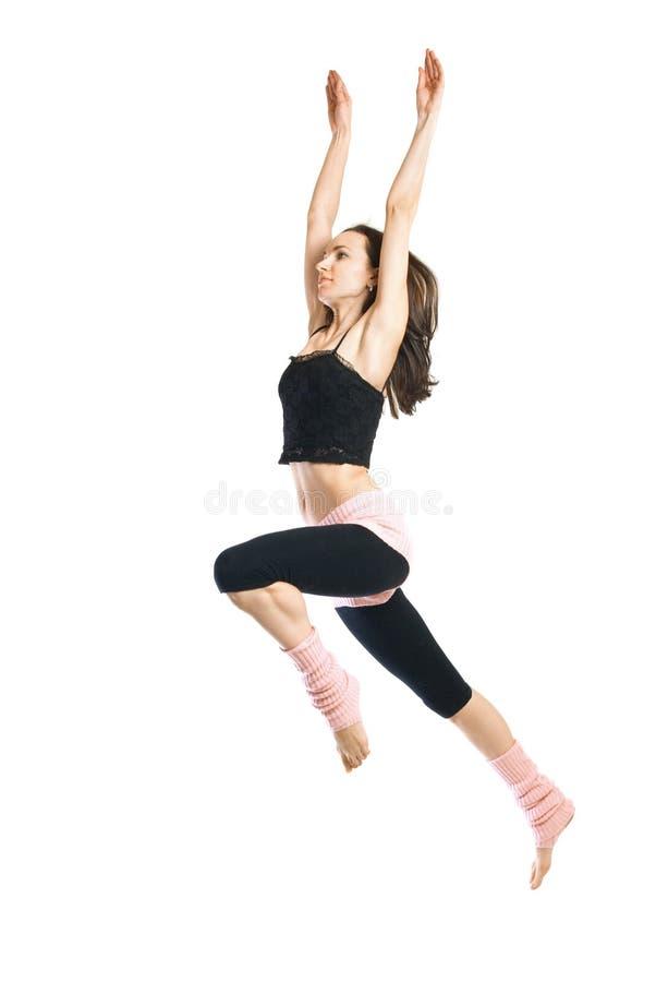 детеныши изолированные танцором скача белые стоковые изображения rf