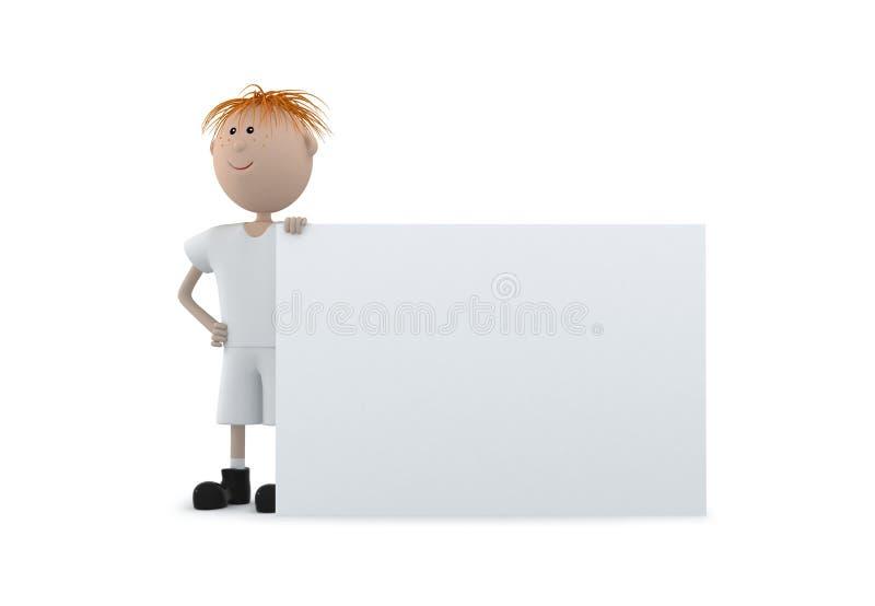 детеныши изолята владением мальчика доски 3d белые стоковая фотография rf