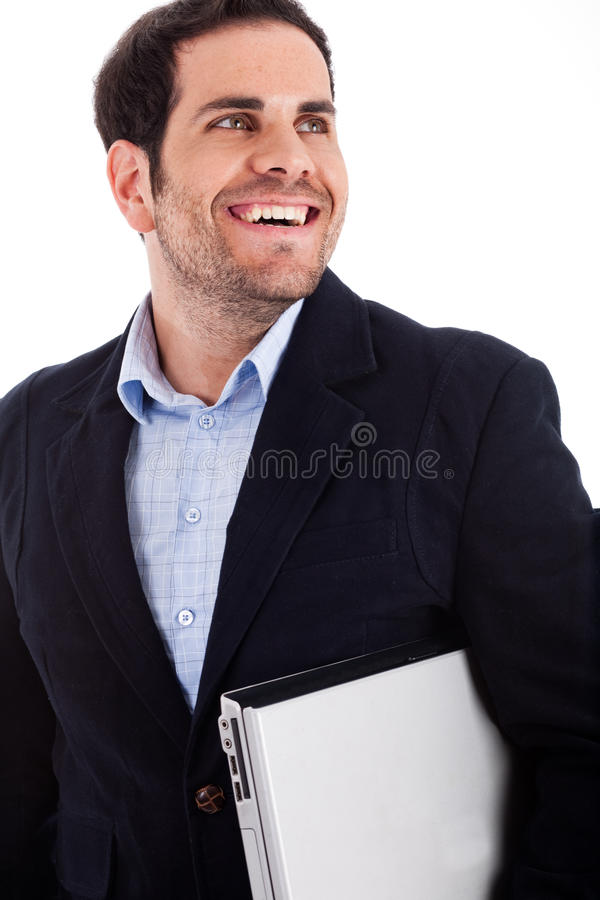 детеныши нося работника компьтер-книжки стоковые изображения