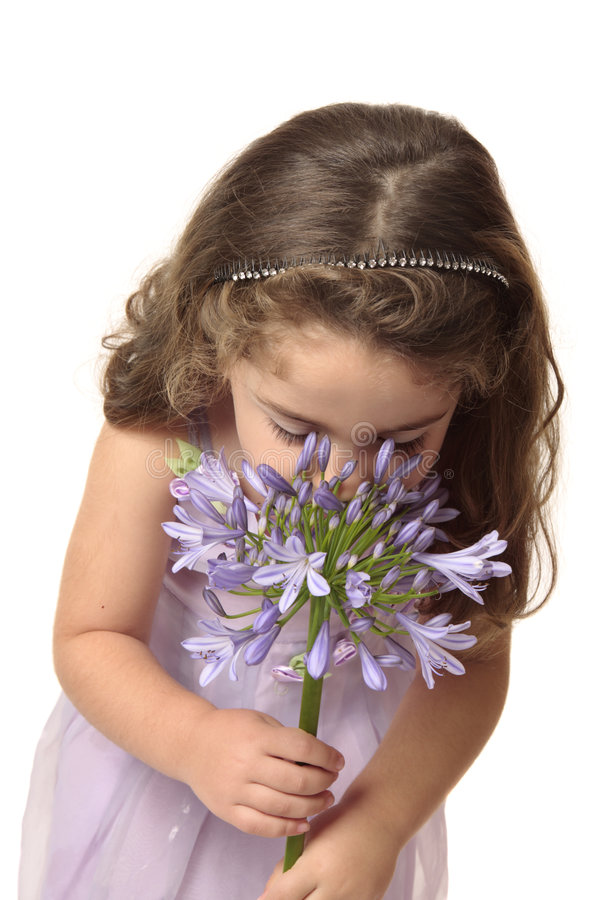 детеныши обнюхивать девушки цветка стоковые фото