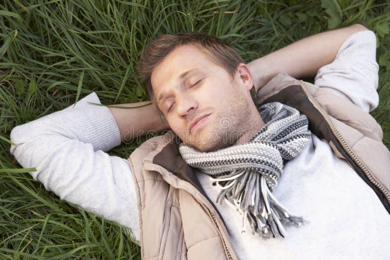 детеныши одного человека травы napping стоковые изображения