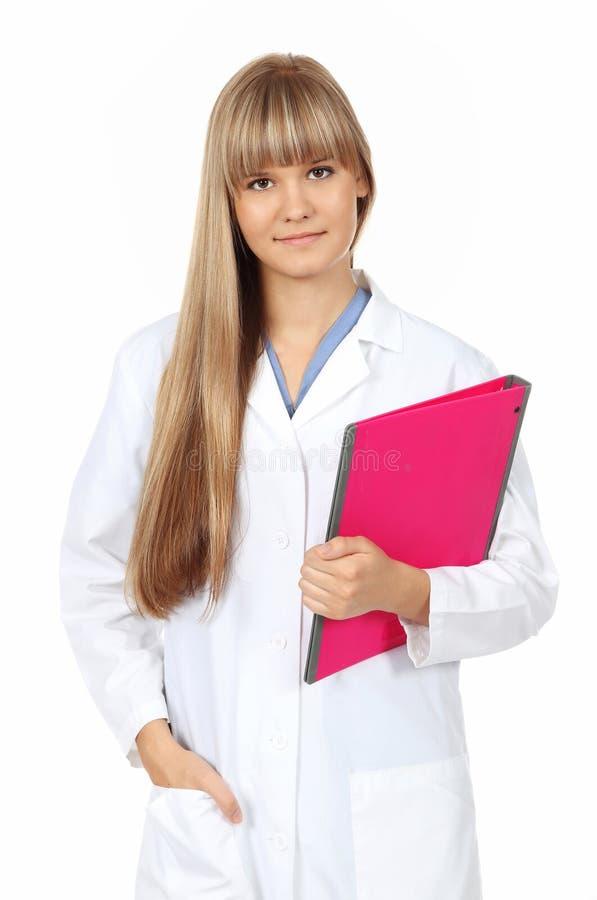 детеныши пинка владением скоросшивателя доктора женские стоковое фото