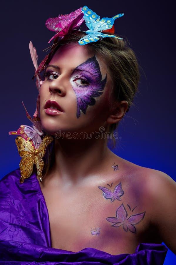 детеныши портрета способа красотки цветастые стоковые фотографии rf
