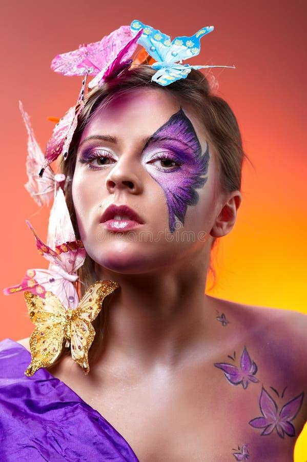детеныши портрета способа красотки цветастые стоковые изображения rf