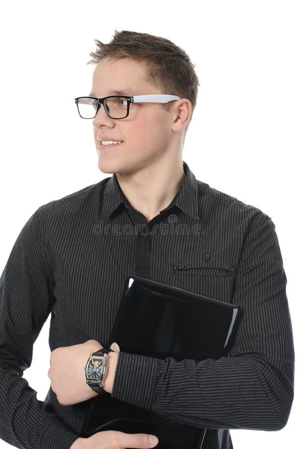 детеныши портрета человека компьтер-книжки сь стоковое изображение