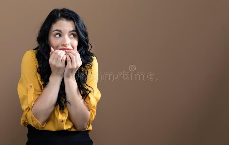 детеныши потревоженные женщиной стоковое фото rf
