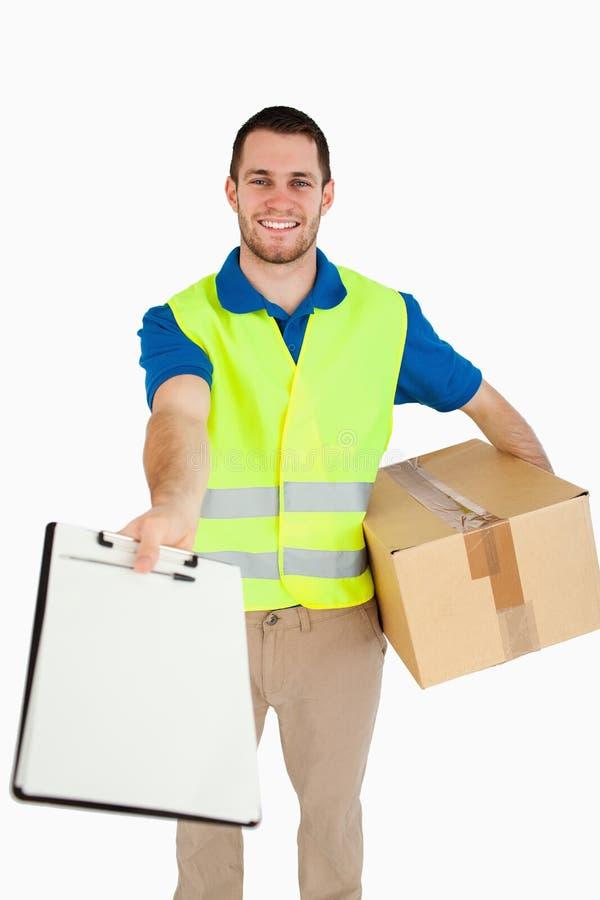 детеныши работника доставляющего покупки на дом ся стоковые изображения