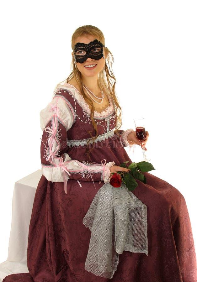 детеныши розы красного цвета девушки счастливые стоковая фотография rf