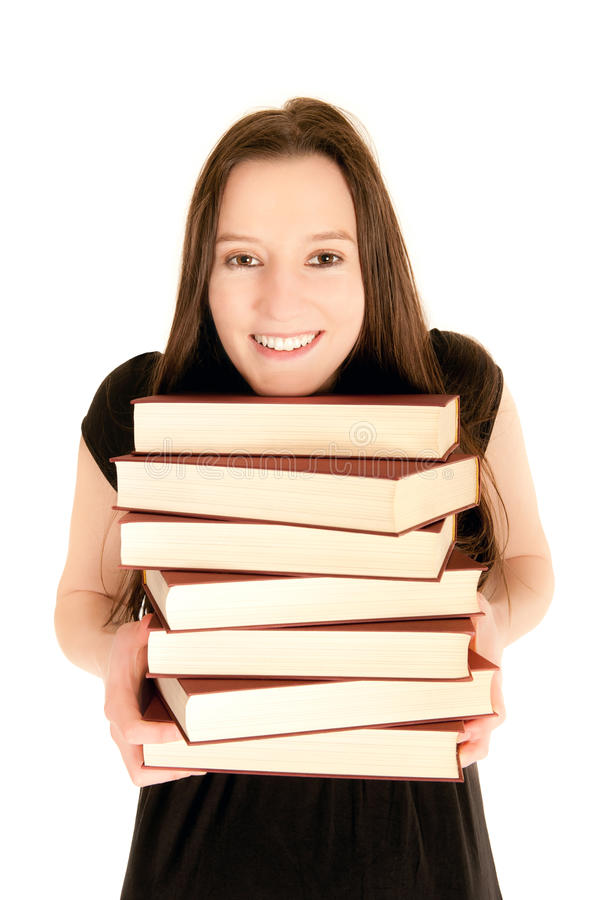 детеныши студента кучи книг стоковые фотографии rf