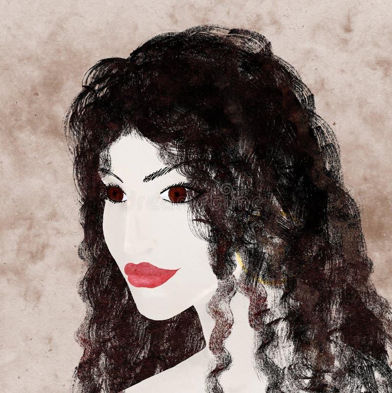детеныши темной девушки с волосами иллюстрация вектора