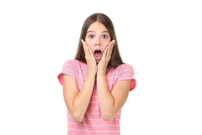 детеныши удивленные девушкой стоковая фотография rf