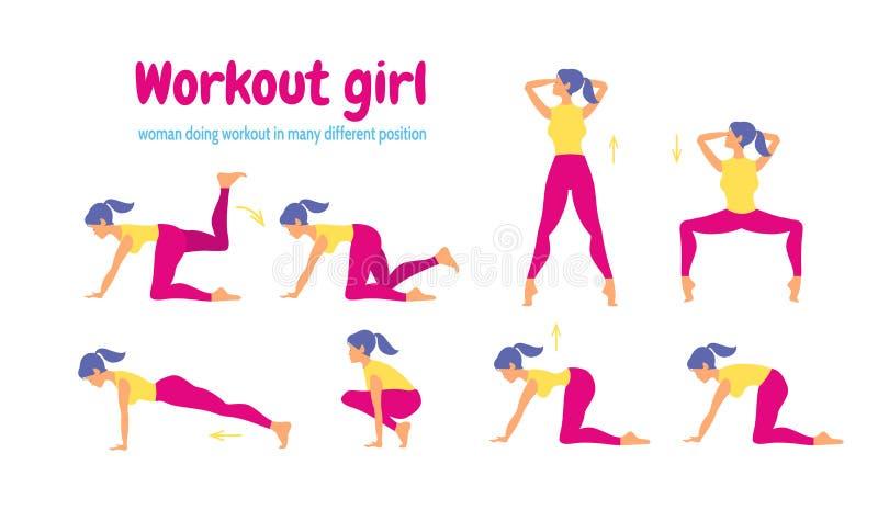Детеныши уменьшают фитнес разминки женщины и аэробные бесплатная иллюстрация