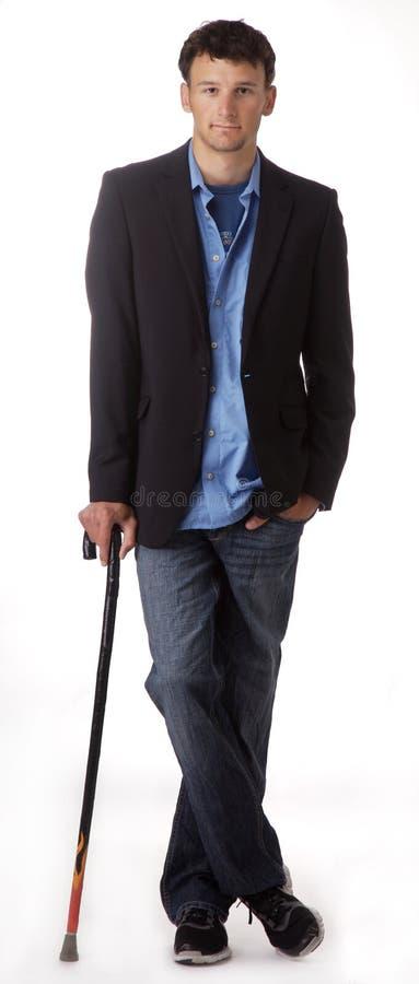 детеныши человека тросточки полагаясь стоковое изображение