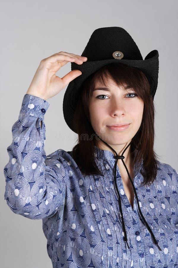 детеныши черной голубой рубашки шлема пастушкы западные стоковые изображения rf