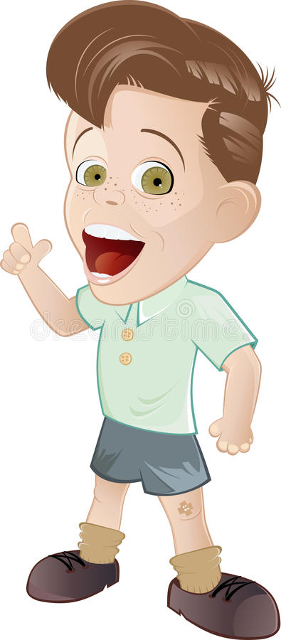 детеныши quiff мальчика милые иллюстрация вектора