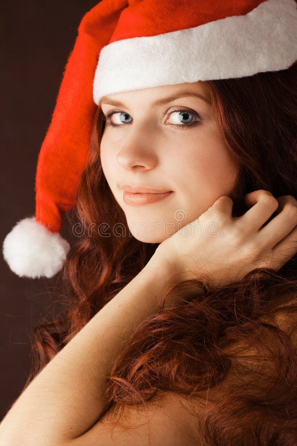 детеныши santa шлема девушки claus стоковые фото