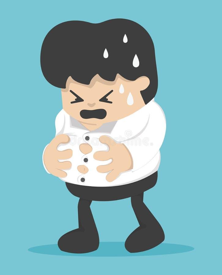Детеныш бизнесмена держит его тяжелый живот, тяжелый живот, ест слишком mu иллюстрация штока