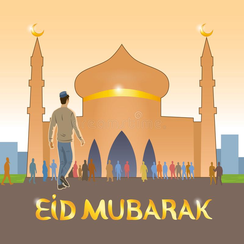 Детеныш одетый в европейских мусульманах одежд идет к мечети отпраздновать мусульманский праздник иллюстрация вектора
