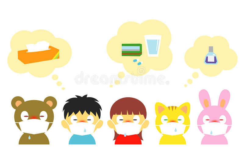 Дети, аллергия, холод, маска бесплатная иллюстрация