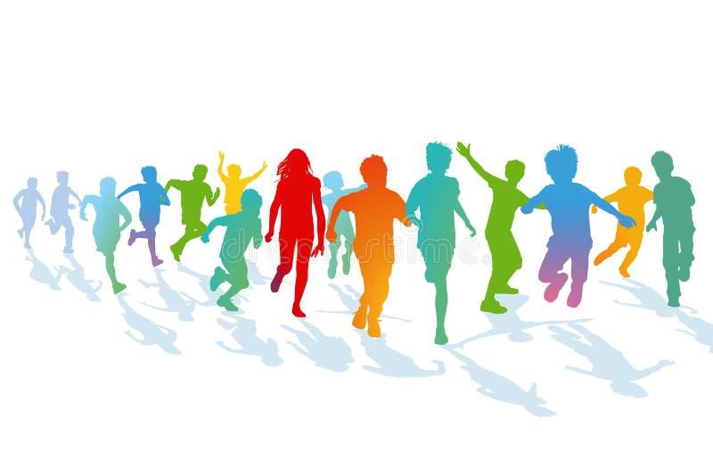 Дети бежать и скача иллюстрация вектора