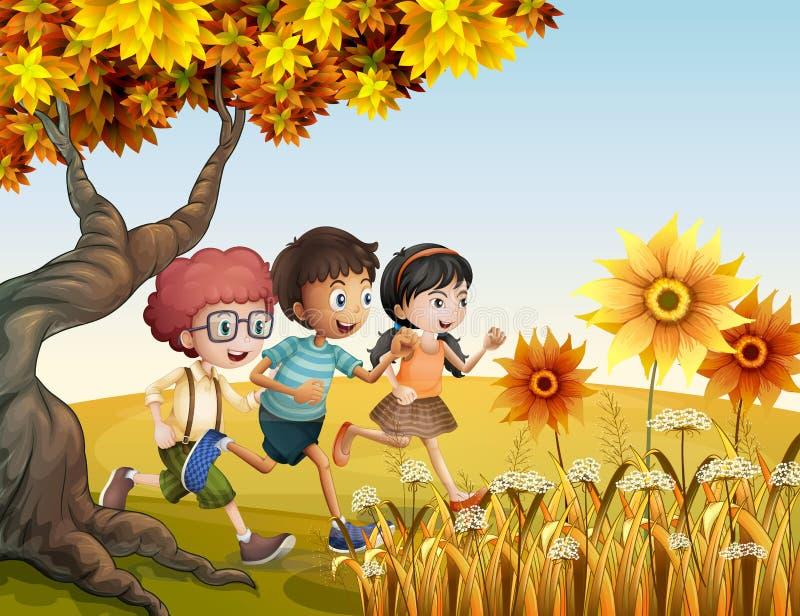 Дети бежать на холме с солнцецветами иллюстрация вектора