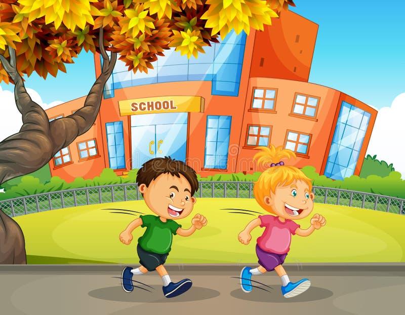 Дети бежать перед школой иллюстрация штока