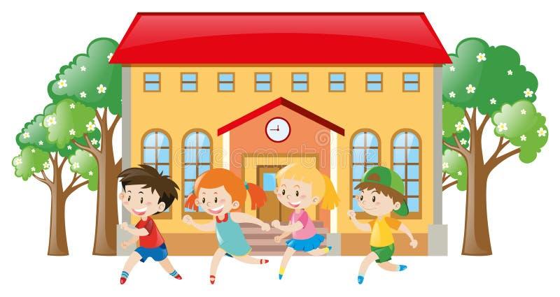 Дети бежать перед школой бесплатная иллюстрация