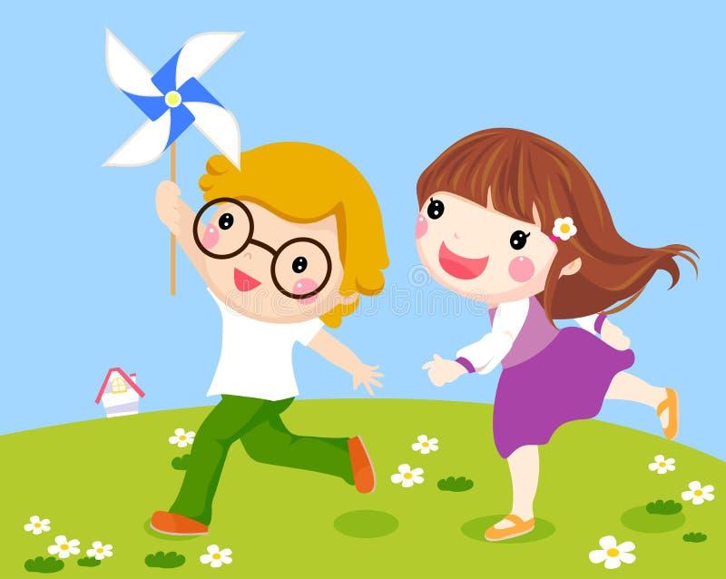 Дети бежать совместно снаружи с ветрянкой иллюстрация вектора