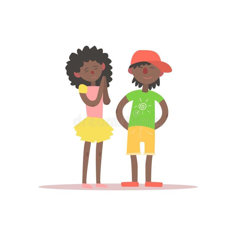 Дети брата и сестры черные иллюстрация вектора