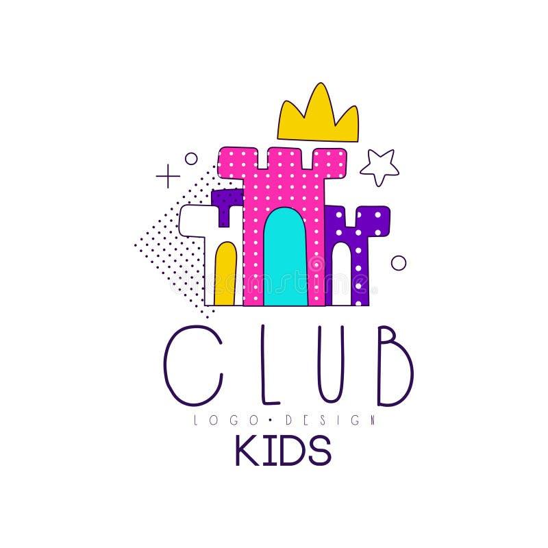 Дети бьют логотип, элемент дизайна для спортивного центра развития, воспитательных или, иллюстрации вектора магазина игрушек на б бесплатная иллюстрация