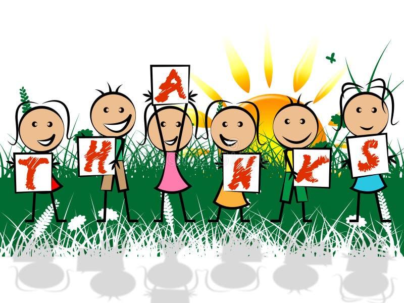 Дети благодарят Gratefulness молодости выставок и благодарное иллюстрация штока