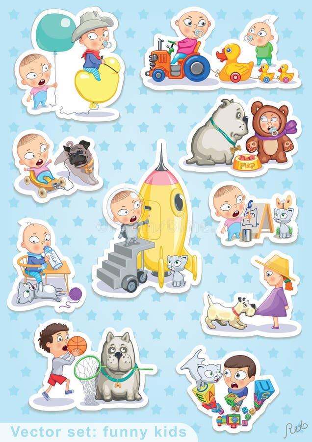 Дети вектора младенца и любимчиков установленные смешные иллюстрация вектора