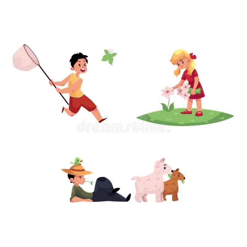 Дети вектора плоские на установленных сценах сельской местности иллюстрация штока