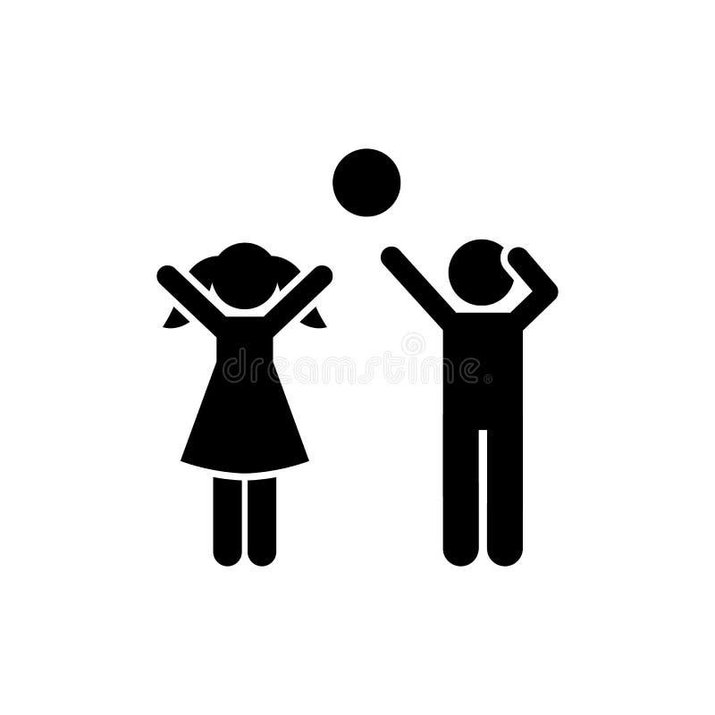 Дети, воздушный шар, игра, игра, девушка, значок человека Элемент пиктограммы детей r r иллюстрация вектора