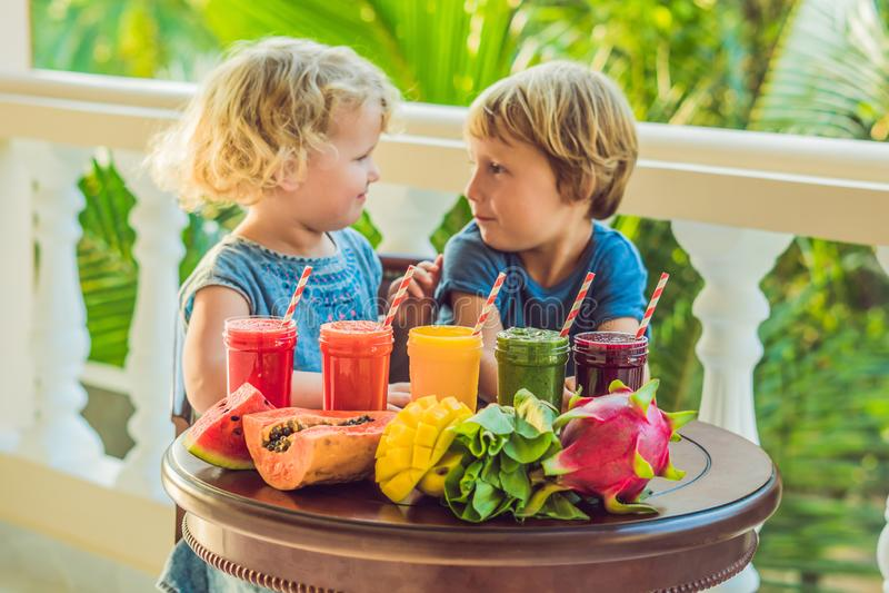 Дети выпивают красочные здоровые smoothies Арбуз, папапайя, манго, шпинат и дракон приносить Smoothies, соки стоковое изображение rf
