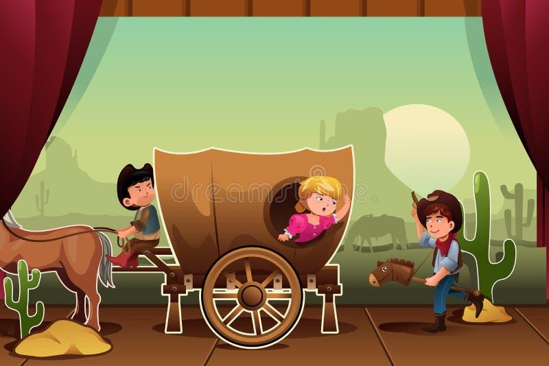 Дети выполняя на этапе иллюстрация штока