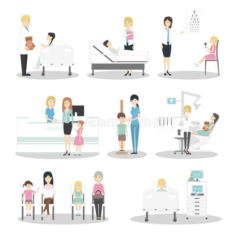 Дети в больнице иллюстрация штока