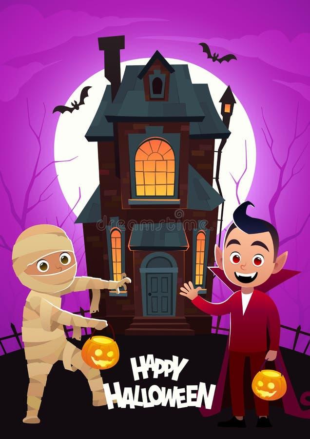 Дети в изверге костюмируют мумию и Дракула на фокусах дома предпосылки или знамени хеллоуина обслуживания счастливом иллюстрация штока