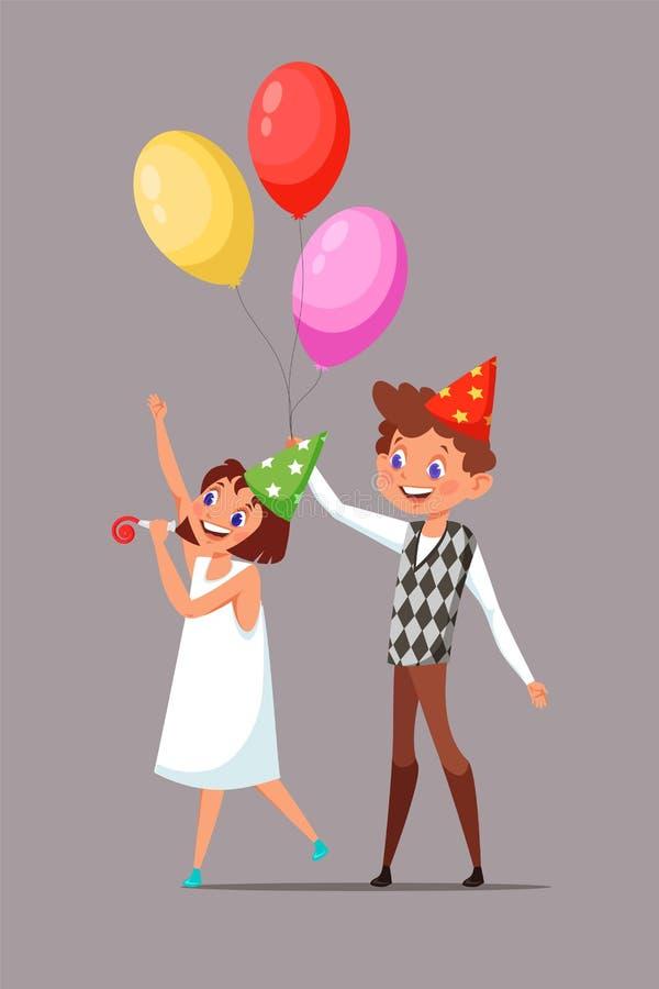 Дети в иллюстрации вектора шляп дня рождения иллюстрация вектора
