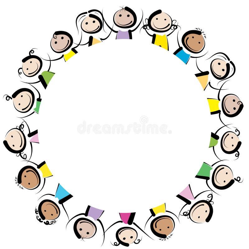 Дети в круге иллюстрация штока