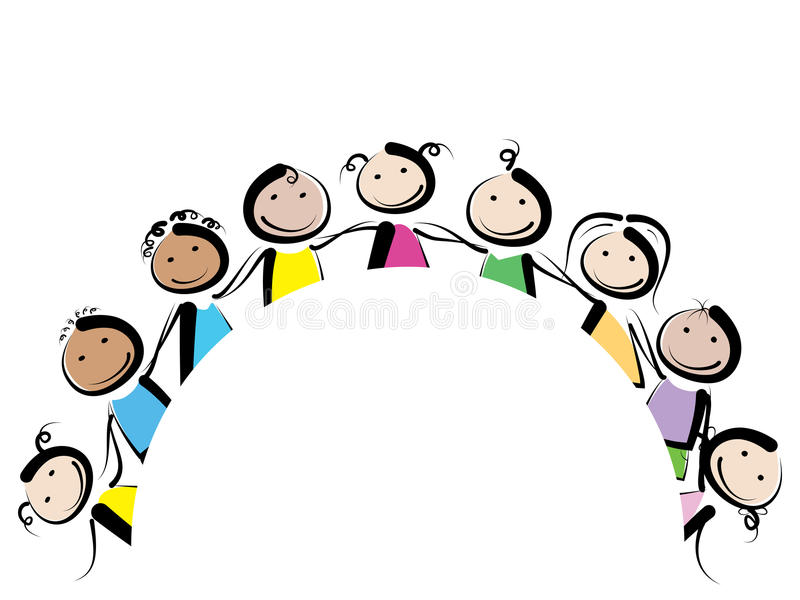 Дети в круге бесплатная иллюстрация