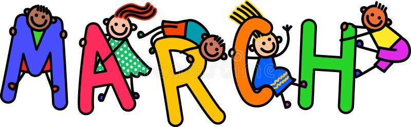 Дети в марте иллюстрация штока