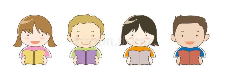 Дети в мире кто книги чтения иллюстрация вектора